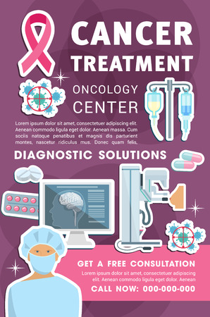 Oncology medicine banner for diagnostic center and medical hospital design. Cancer prevention, diagnostics and treatment solution poster with chemotherapy pill and capsule, brain and breast MRI scan
