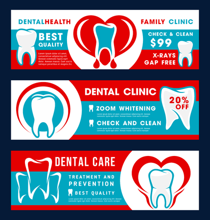 Dental clinic discount offer banner for dentistry medical treatment. Dentist tooth care therapy promo flyer for dental check up, teeth cleaning and whitening treatment, oral hygiene and dental implant
