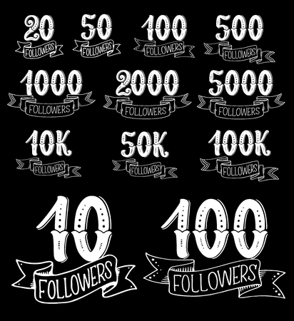 Followers thank you card for social media and network community design. Numbers of web user follower, friend or subscriber celebration icon with vintage ribbon banner isolated on black