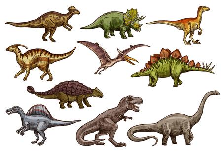 Iconos de animales dinosaurios de monstruos reptiles prehistóricos. Bocetos de dinosaurios de triceratops, tiranosaurio rex y estegosaurio, brontosaurio, espinosaurio y velociraptor, pteranodon y anquilosaurio Ilustración de vector
