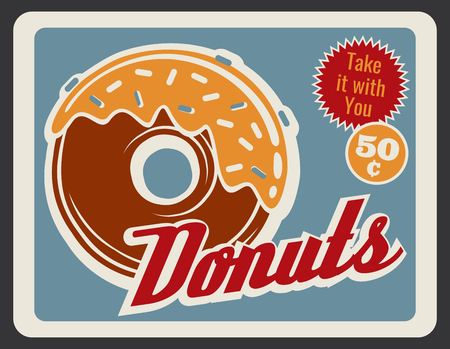 Donut retro grunge poster of bakery and fast food dessert. Sweet doughnut with caramel glaze and sprinkles vintage banner for pastry shop or cafe advertising design 일러스트