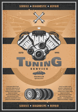 Motor vehicle tuning service retro grunge banner for car diagnostic and repair service. Gasoline engine part, wheel and spanner or wrench vintage rusty poster for garage or workshop advertising design