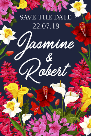 Wedding save the date floral banner for invitation template. Spring flower frame of daffodil, tulip and calla lily, phlox and delphinium garden plant festive poster for greeting card design