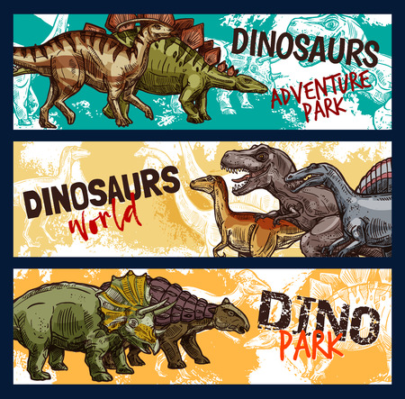 Dinosaur world banners for dino adventure park design. Jurassic monsters sketch with tyrannosaurus rex, stegosaurus and velociraptor, triceratops, diplodocus and ankylosaurus prehistoric animals Illustration