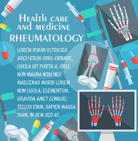 Rheumatology medical poster with human bone and joint x-ray. Rheumatologist doctor, pill and syringe, hand, leg and knee xray, crutches and ointment for medicine and health care themes design