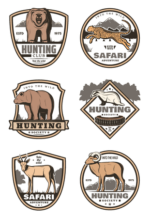 Hunting sport club and african safari retro labels with ribbon banner. Forest and savannah animals vintage icons of bear, jaguar and antelope, panther, gazelle and badger, hunter rifle and cartridge