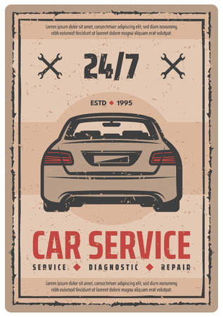 Car service retro poster for auto repair and vehicle diagnostics service. Sedan car vintage banner with spanner or wrench for garage, engine tuning station and motor mechanic workshop grunge signboard Illustration