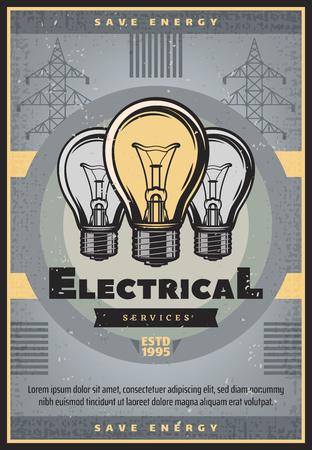 Économisez de l'énergie sur la bannière grunge rétro pour la conception des thèmes de l'industrie des services électriques et de l'approvisionnement en électricité. Ancienne ampoule et affiche vintage de poteau électrique à haute tension, décorée d'une bannière en ruban