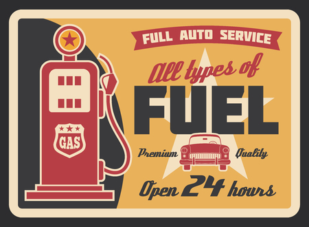 Gas filling station vintage banner for car service template. Retro petrol pump grunge poster with old automobile, ribbon banner and star for fuel station and motor oil shop advertising design