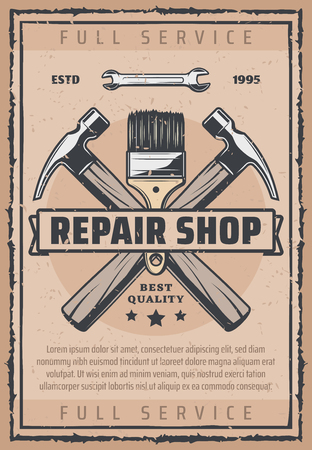 Repair shop vintage banner of car service, garage and auto workshop. Retro grunge work tool poster with hammer, wrench, brush and ribbon for automobile mechanic service garage design