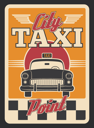 Taxi car retro poster for transportation service design. Yellow cab, vintage car of public transport old grunge banner, adorned with checkered pattern and wing for taxi service advertising design Illustration