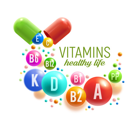 Vitamin for healthy life poster. Colorful pill and ball of multivitamin spilled out of vitamin capsule for natural food supplement advertising, pharmacy promotion banner design 写真素材 - 105944909