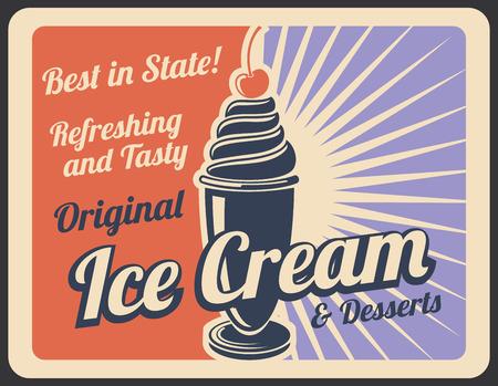Retro-Plakat des Eisdesserts des süßen Essens für Café- oder Geschäftsmenükarte. Eisbecher mit Vanille-Strudel und Kirsche auf Vintage-Banner für kalte Milchprodukte und Sommer-Dessert-Snack-Werbedesign