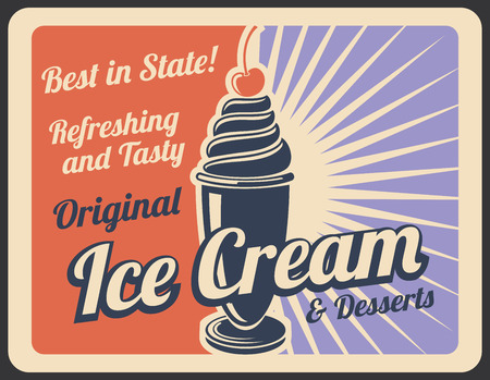 Ice cream dessert retro poster of sweet food for cafe or shop menu card. Sundae with vanilla swirl and cherry on top vintage banner for cold dairy treat and summer dessert snack advertising design