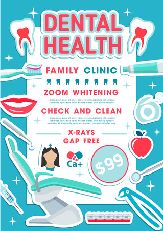 Dental health family clinic promo banner for dentistry medicine design. Tooth, dentist chair and doctor tool poster with frame of toothbrush, toothpaste and floss, braces, syringe and mouth