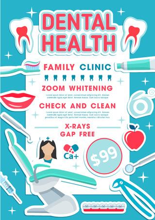 Promo-Banner für Zahngesundheitsfamilienklinik für Zahnmedizindesign. Zahn, Zahnarztstuhl und Arztwerkzeugplakat mit Rahmen aus Zahnbürste, Zahnpasta und Zahnseide, Klammern, Spritze und Mund