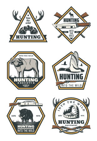 Hunting sport retro badges with animals and birds. Duck, deer, hog and bull, hunter knife, binocular and trap vintage labels, decorated by rifle gun, shotgun and antlers for hunting sport club design