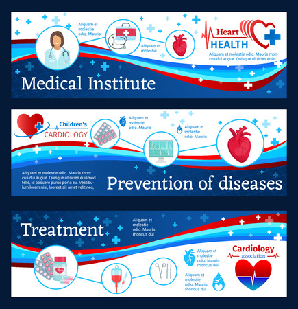 Cardiology medical clinic banners of heart disease prevention, diagnostics and treatment. Heart, ecg and heartbeat, cardiologist doctor, pill, blood bag and medical cross symbols for medicine design Illustration