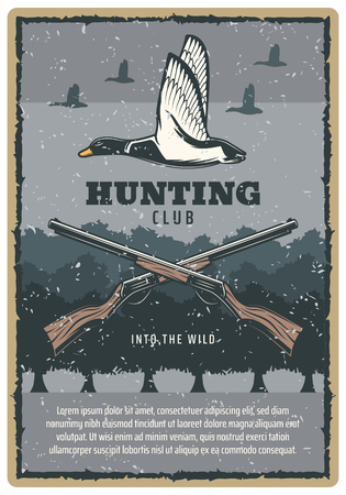 Duck hunting vintage banner with wild bird and hunter rifle. Mallard duck flying over tree retro grunge poster, decorated with crossed shotgun weapon and scratched frame for hunting sport club design