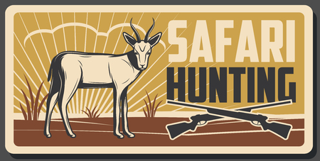 African safari hunting retro poster with antelope animal and hunter rifle gun. Safari hunting tour promo card or huntsman sport club vintage banner with savanna gazelle and crossed shotgun Illustration