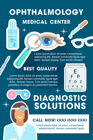 Ophthalmology medical center and diagnostic clinic banner. Human eye, ophthalmologist doctor and sight test chart, eye drop, glasses and dropper promo poster for health care and hospital design
