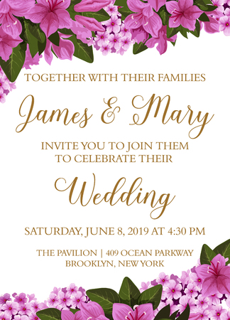 wedding invitation banner with border of spring flower for