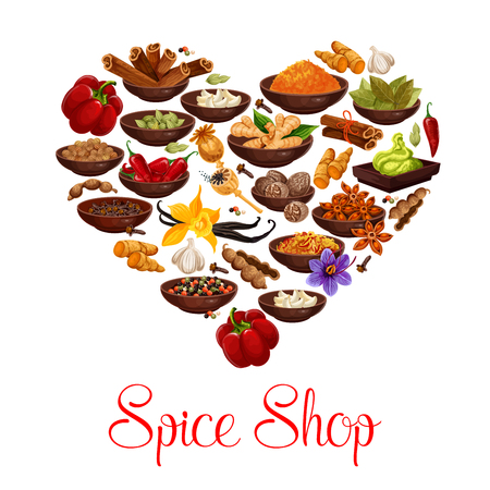Heart formed of spice and condiment poster for spice shop design. Pepper, cinnamon and star anise, ginger, cardamom and vanilla, chili, nutmeg and bay leaf, saffron, clove and turmeric seasoning Zdjęcie Seryjne - 112276076