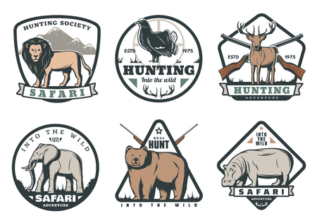 African safari hunting retro labels of animal and bird with target. Wild deer, bear and elephant, lion, hippo and reindeer old vintage badges design with hunter rifle gun, antlers and ribbon banner