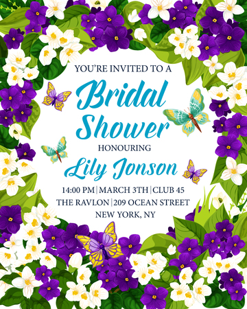 Bridal shower invitation card with white and purple flower frame. Violet and jasmine blooming branches with green leaf, butterfly and copy space in center for wedding celebration design