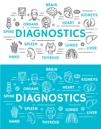 Medical diagnostics banner with medicine and health care symbol. Diagnostic clinic and research technology poster with doctor, heart and brain, liver, kidneys and lungs, spine MRI scan and hand x-ray