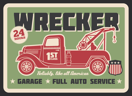 Retro truck wrecker vintage banner for auto service or garage design. Old tow truck with wheel lift grunge poster for emergency vehicle towing and roadside assistance advertising template