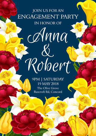 Wedding invitation card with spring floral frame of engagement party template. Daffodil, tulip, calla lily and peony flower banner with yellow and red blossom for festive postcard design