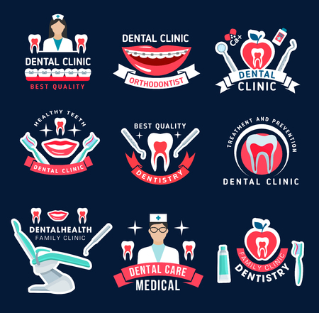 Dental clinic, dentist and orthodontist office icons for dentistry medicine design. Tooth, doctor tool and oral hygiene instrument, braces, floss, toothbrush and toothpaste symbols for emblem template Illustration