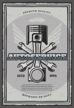 Auto service and car repair vintage banner for transportation template. Motor vehicle piston with crossed wrenches and wings retro poster for garage and mechanic workshop promotion design