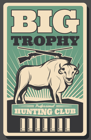 Big trophy animal vintage banner for hunting sport design. Bison wild mammal with crossed hunter gun, rifle cartridge and retro sun ray for hunter club, outdoor recreation and hobby poster template