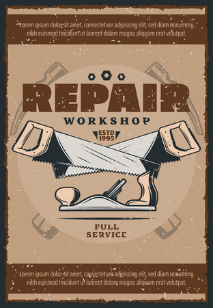 Work tools vintage poster for house repair and carpentry workshop. Old hammers, saws and jack plane retro grunge banner for construction and renovation themes design Illustration