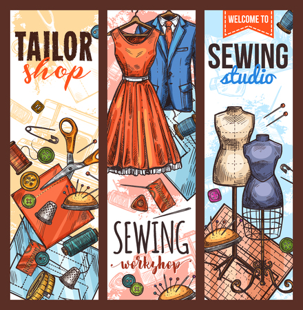 Tailor workshop and sewing studio sketch banner. Fabric, sewing machine and pin, needle, thread and scissors, mannequin, button and tape measure, dress and suit for atelier or fashion studio design
