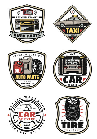 Car service retro labels for repair workshop, car wash, auto part and tire shop design. Motor oil, wheel and tire, battery, steering wheel and alarm system key vintage icons for transportation emblem