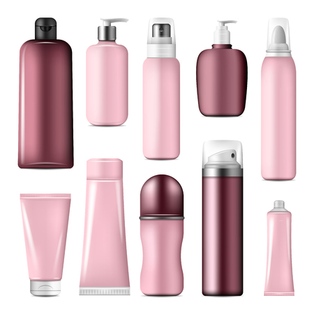 Cosmetic bottles and liquid containers mock up made up of pink plastic. Beauty and skin care product packages for cream, lotion spray and shampoo tube, foam pump dispenser for soap and shower gel