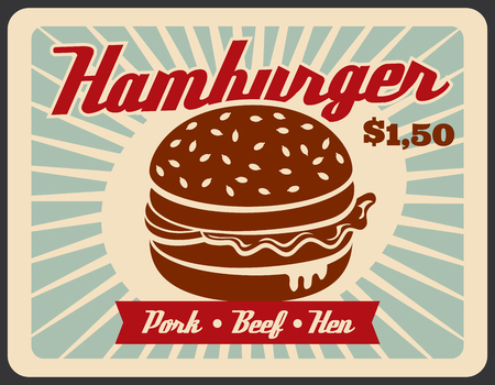 Fast food hamburger retro banner for restaurant template. Burger sandwich with beef, pork and chicken meat, bread bun, sauce and salad vintage promo poster for fastfood cafe advertising design  イラスト・ベクター素材