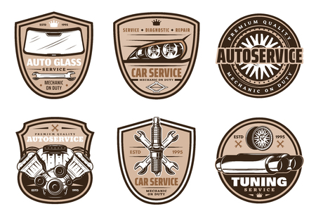Auto service retro grunge badge of car diagnostic, repair and vehicle tuning. Car engine, tire and wheel, wrench, spark plug, glass and headlight vintage shield for garage and mechanic workshop design