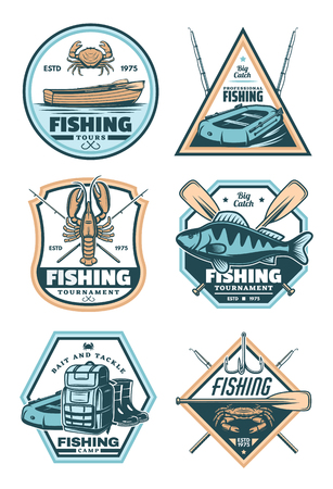 Fishing sport vintage shield badge with fisherman equipment and fish catch. Fish, crab and lobster, rod, hook and boat, boot, backpack and paddle retro grunge icon for fishing tour or camp design