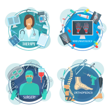 Doctor specialist label of surgery, therapy, rheumatology and orthopedics medicine. Surgeon, physician, rheumatologist and orthopedist profession round icon for hospital and health care themes design