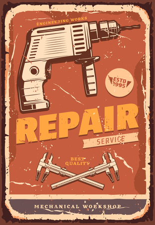 Auto repair service retro grunge banner for car mechanic workshop and garage signboard. Drill and caliper vintage instrument old scratched poster for advertising flyer design