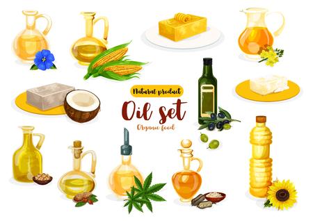 Cartel de aceite y mantequilla natural con productos lácteos y vegetarianos. Botella de aceite, ladrillos de mantequilla y margarina con oliva, coco y maíz, girasol, maní y lino, sésamo, colza, soja y cáñamo