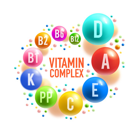 Vitamin complex poster with colorful pill of healthy food supplement. Multivitamin ball with A, B group and D, C, E and K vitamin for diet nutrition, pharmacy and health care banner design