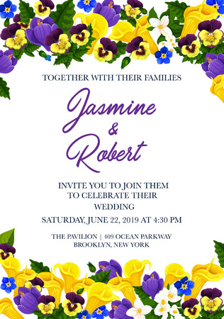 Wedding invitation festive banner template with border of blooming flower. Floral invite card, decorated with spring crocus, jasmine, calla lily and pansy flower, green leaf branch and flourish bud