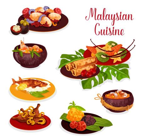 이국적인 과일 디저트와 함께 저녁 식사의 말레이시아 요리 아이콘. 치킨 카레 밥, 비프 스튜 렌당, 생선 구이, 춘권 튀김, 카레 소스에 계란, 해산물 국수, 새우 파파야 수프 벡터 (일러스트)