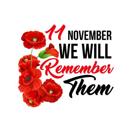 11 november Poppy Day-pictogrammen voor de wenskaart van de herdenkingsdag. Vector rood klaproosymbool ter herinnering aan Anzac en Commonwealth-gedenkteken voor de wereldvrijheid in Australië, Nieuw-Zeeland en Groot-Brittannië of Ierland