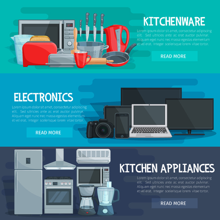 Home appliance banner set with kitchenware, household electronics and kitchen tool. Refrigerator, stove and microwave, mixer, coffee machine and knife, toaster, kettle and pan, tv, computer and camera Иллюстрация